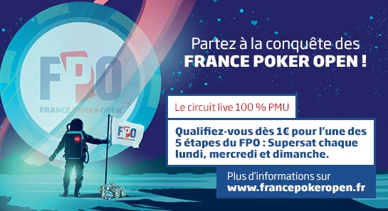 France Poker Open by PMU : un leaderboard à 20 000 € et un pack offert ce jeudi