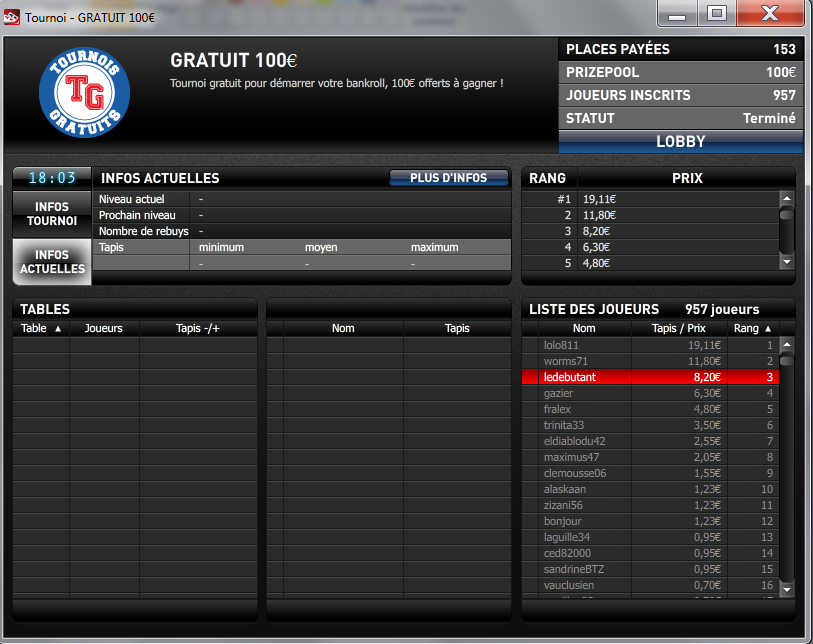 Free 100€ Place 3 / 957