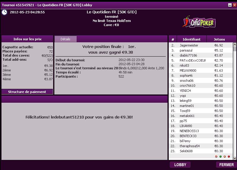 Le Quotidien FR 50€ place 1 / 522