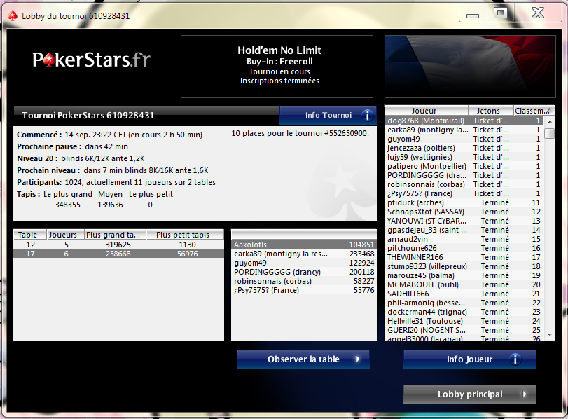 Tournois PokerStars 610928431 place1/1024
