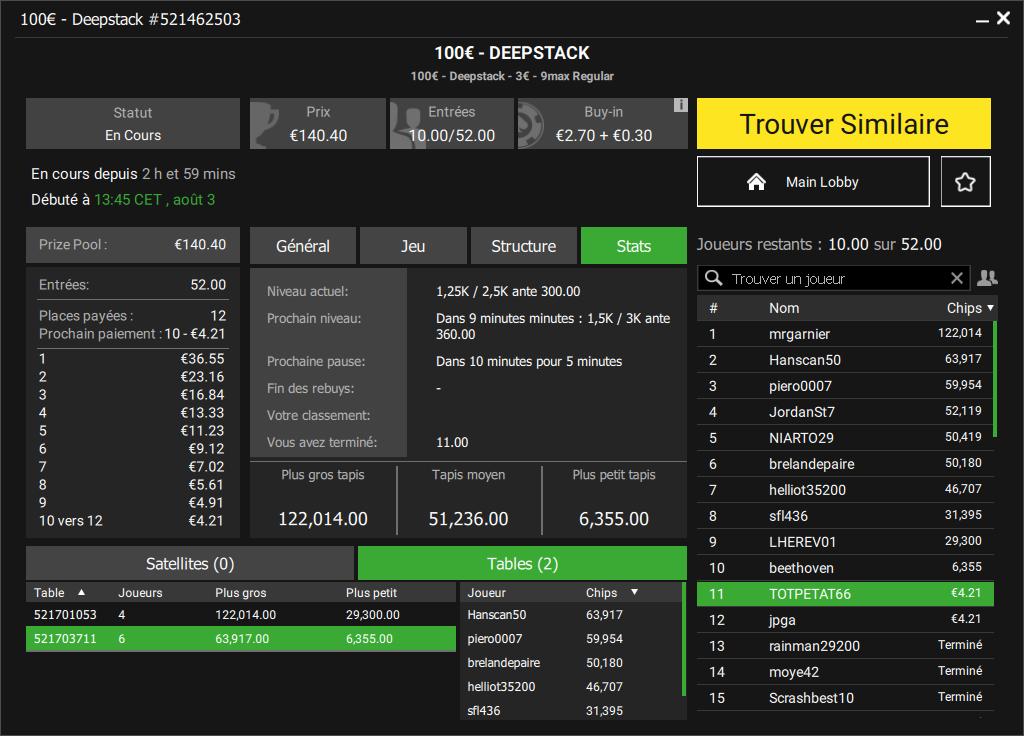 Tournoi Deepstack sur Unibet