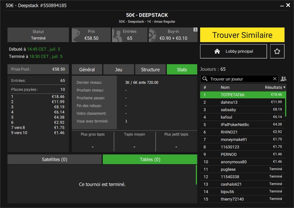 Tournoi deepstack 50€
