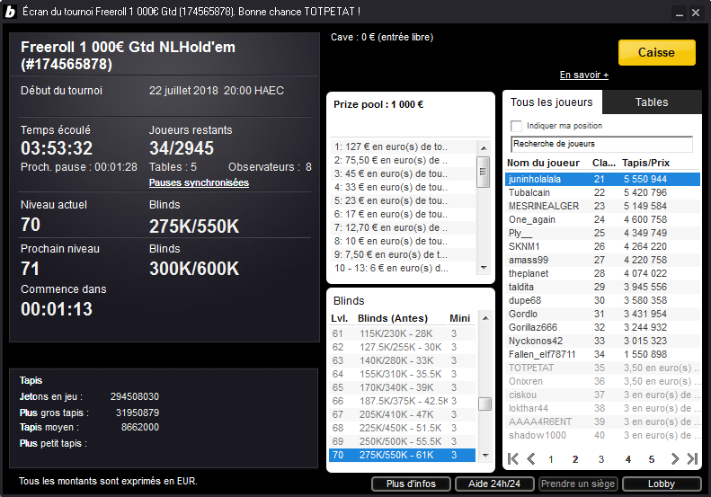 Tournoi freeroll ticket 1000€