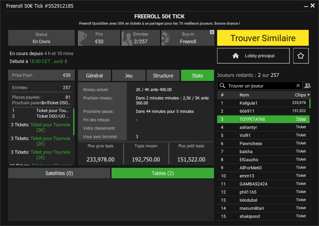 Tournoi freeroll Ticket 50€