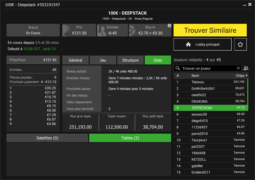 Tournoi Deepstack 100€