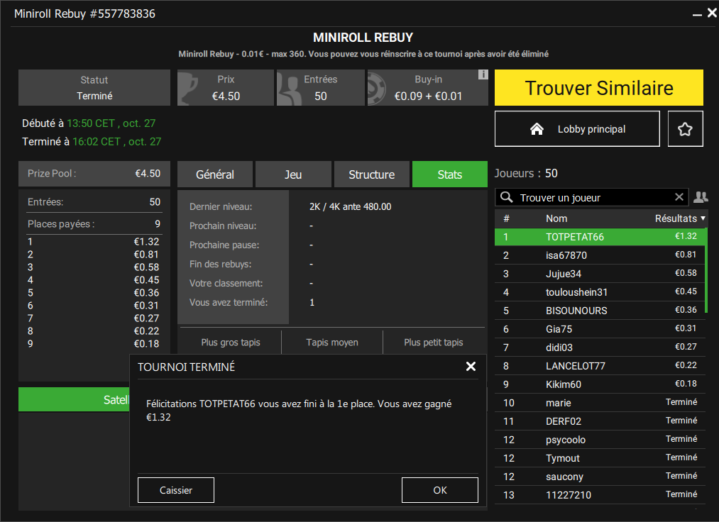 Tournoi miniroll rebuy