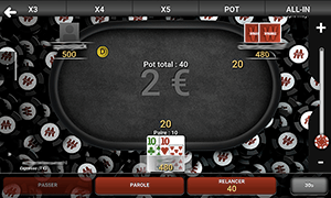 les commandes à tables Winamax Poker Android
