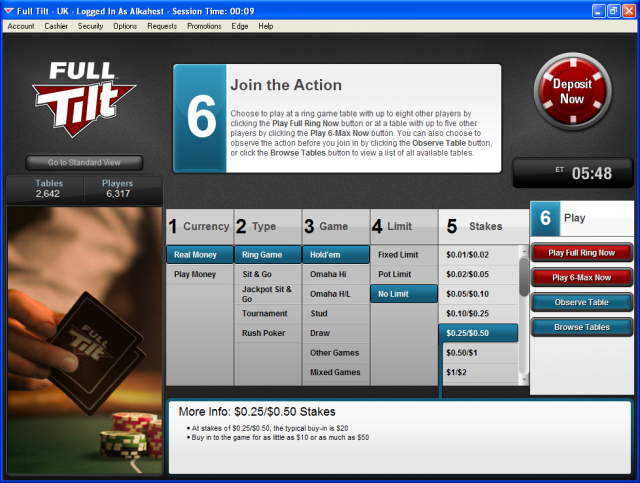 Full Tilt Poker UK Change view