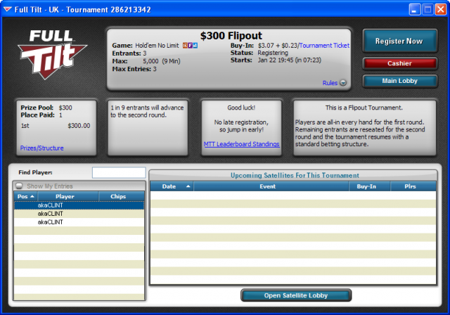 Full Tilt Poker UK Flipout Tournament