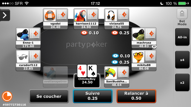 Party Poker mobile cash game