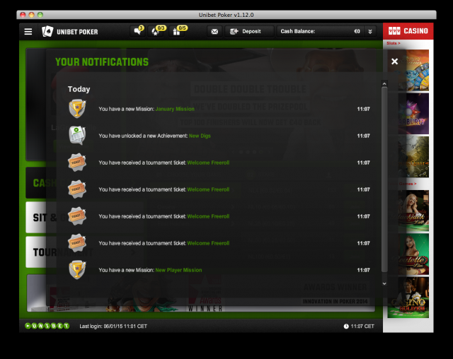 Unibet mass achievements