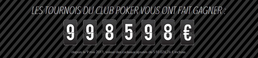 Tournois Club Poker : du champagne pour le million !