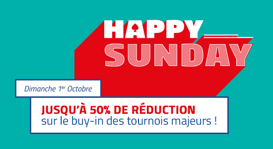 Happy Sunday : grosse ristourne sur les tournois de PMU Poker