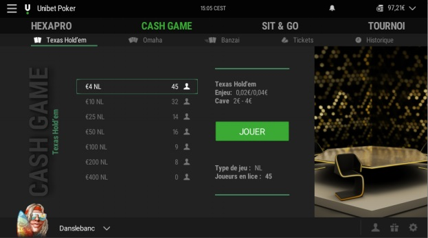 Unibet lobby cash game